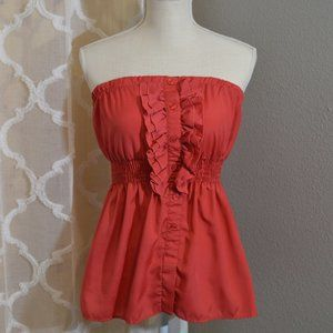Red Retro Chic Strapless Top by Charlotte Russe